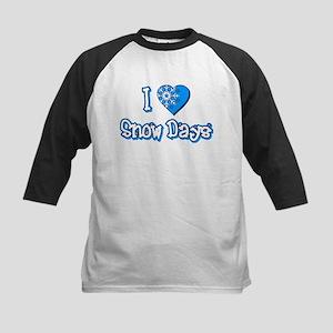 I Love [Heart] Snow Days Kids Baseball Jersey